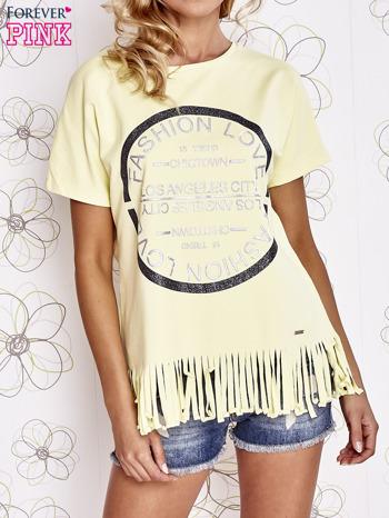 Żółty t-shirt z nadrukiem i frędzlami                                  zdj.                                  1