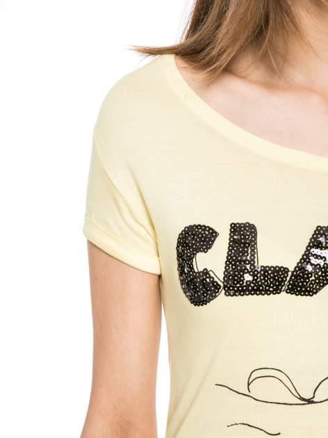 Żółty t-shirt z nadrukiem kota i myszy                                  zdj.                                  5