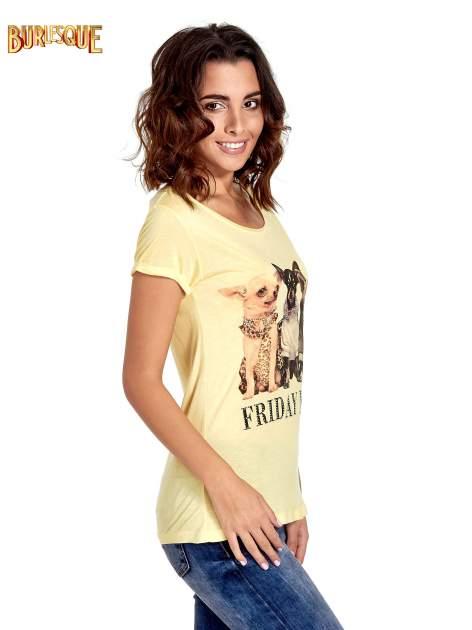 Żółty t-shirt z nadrukiem szczeniąt                                  zdj.                                  3