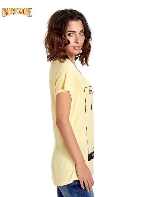 Żółty t-shirt z napisem DO YOU BELIEVE IN LOVE?                                  zdj.                                  3