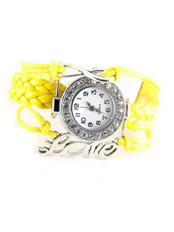 Żółty zegarek damski na skórzanym, plecionym sznurku