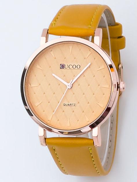 Żółty zegarek damski z pikowaniami na tarczy