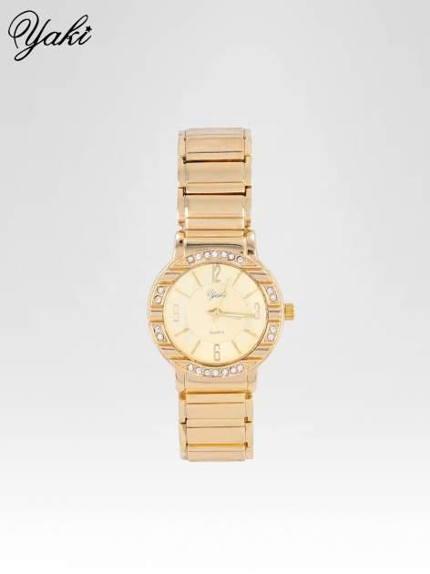 Zoty zegarek damski na bransolecie z okrągłą kopertą z cyrkoniami