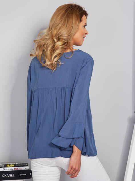 Zwiewna luźna bluzka niebieska                              zdj.                              2