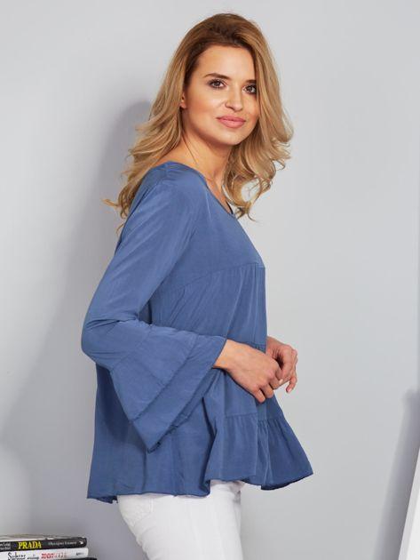 Zwiewna luźna bluzka niebieska                                  zdj.                                  3