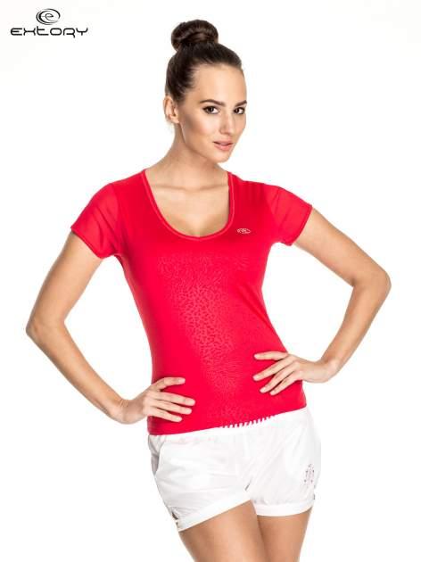 Żyworóżowy panterkowy t-shirt sportowy PLUS SIZE