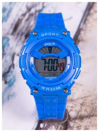 sportowy niebieski zegarek z tarczą poświetlaną na 2 kolory,WR30,alarm. Wygodny silikonowy pasek.                                  zdj.                                  1