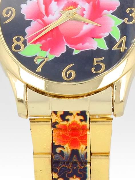 zegarek damski na bransolecie z czerwonym motywem kwiatowym                                  zdj.                                  5