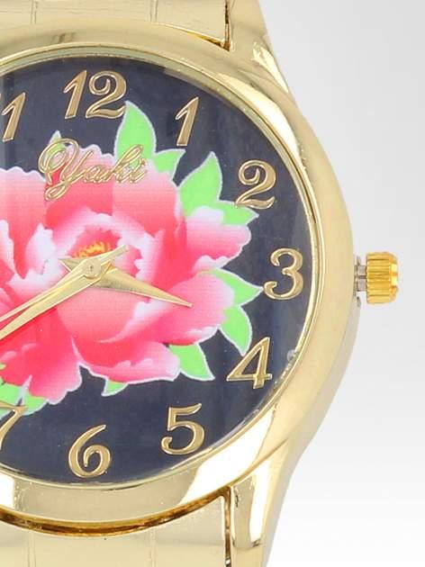 zegarek damski na bransolecie z czerwonym motywem kwiatowym                                  zdj.                                  6