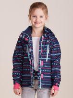 4F Granatowa wzorzysta kurtka narciarska dla dziewczynki                                  zdj.                                  6