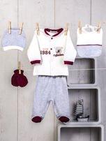 5-elementowy 100% bawełniany zestaw wyprawka niemowlęca ze sportowym haftem ecru-bordowa                                  zdj.                                  1