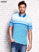 ADIDAS Niebieska koszulka polo męska w paski                                  zdj.                                  1