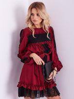 BY O LA LA Bordowa sukienka z koronką i falbankami                                  zdj.                                  5