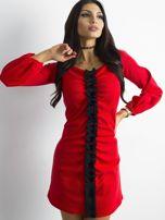BY O LA LA Czerwona prążkowana sukienka                                   zdj.                                  6