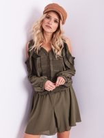 BY O LA LA Khaki sukienka cut out z plisowanym żabotem                                  zdj.                                  7