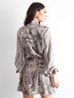BY O LA LA Khaki sukienka we wzory                                  zdj.                                  2