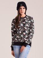 Bawełniana bluza damska we wzory khaki                                  zdj.                                  1