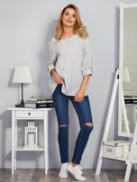 Bawełniana melanżowa bluzka jasnoszara                                  zdj.                                  4