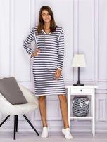 Bawełniana sukienka w paski ze sznurowaniem niebieska                                  zdj.                                  4