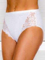 Bawełniane figi damskie high waist w kropki 2-pak biało-czarne                                  zdj.                                  4