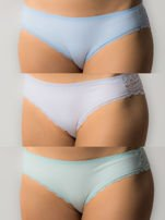 Bawełniane majtki damskie z koronką,3 sztuki: biały, błękitny, miętowy                                  zdj.                                  1