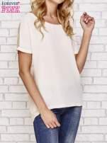 Beżowa bluzka koszulowa z koronką z tyłu                                  zdj.                                  1