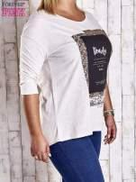 Beżowa bluzka z napisem BEAUTY PLUS SIZE                                  zdj.                                  3