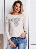 Beżowa bluzka z naszywką słonia                                  zdj.                                  1