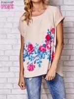 Beżowa koszula z motywem kwiatów                                                                          zdj.                                                                         1