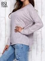 Beżowa melanżowa bluzka z kieszonką z przodu                                                                          zdj.                                                                         4