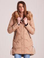 Beżowa pikowana kurtka na zimę                                  zdj.                                  1