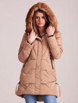 Beżowa pikowana kurtka na zimę                                  zdj.                                  5