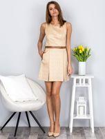 Beżowa rozkloszowana sukienka ze skórzanymi wstawkami                                  zdj.                                  5