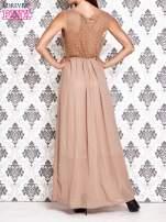 Beżowa sukienka maxi z koronkowym tyłem