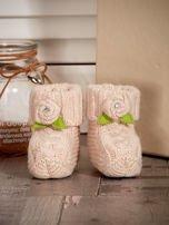 Beżowe buciki dziewczęce z kwiatuszkami                                  zdj.                                  1