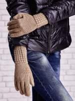 Beżowe długie rękawiczki z fantazyjnym ściągaczem                                                                          zdj.                                                                         3