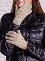 Beżowe rękawiczki z ćwiekami i ściągaczem                                  zdj.                                  1