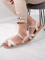 Beżowe sandały BELLO STAR na podwyższeniu z paskami na krzyż                                  zdj.                                  8