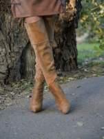 Beżowe zamszowe kozaki na szpilkach za kolano                                  zdj.                                  2