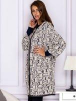 Beżowo-szary wzorzysty sweter z kapturem                                  zdj.                                  5