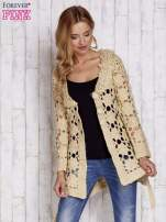 Beżowy sweter z wiązaniem w pasie                                                                          zdj.                                                                         6
