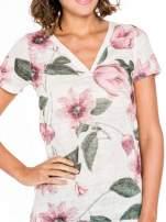 Beżowy t-shirt z nadrukiem all over floral print