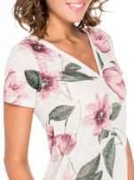 Beżowy t-shirt z nadrukiem all over floral print                                  zdj.                                  6