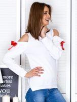 Biała bluza cut out z wstążkami                                  zdj.                                  5