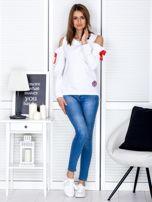 Biała bluza cut out z wstążkami                                  zdj.                                  4
