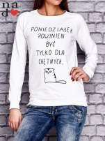 Biała bluza z napisem PONIEDZIAŁEK POWINIEN BYĆ TYLKO DLA CHĘTNYCH                                  zdj.                                  1