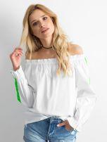 Biała bluzka hiszpanka z fluo zielonymi lampasami                                  zdj.                                  1