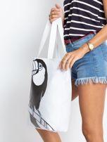 Biała duża torba z nadrukiem                                  zdj.                                  3