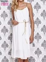 Biała grecka sukienka ze złotym paskiem                                  zdj.                                  1