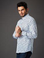 Biała koszula męska regular fit w roślinny wzór                                  zdj.                                  3